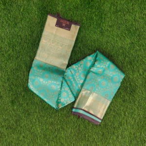 Kanchivaram Color - Sea-Blue With Contrast Brown