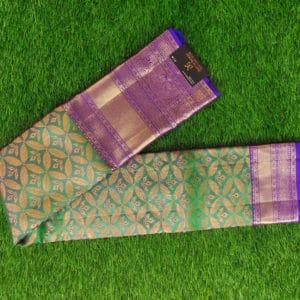 Kanchivaram Color - Parrot Green With Contrast Purple Border