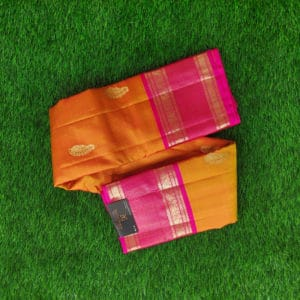 Kanchivaram Color - Orange With Contrast Pink Border