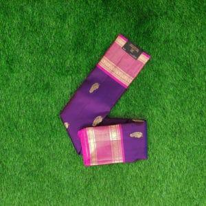 Kanchivaram Color - Voilet With Contrast Pink Border