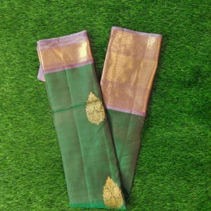 Kanchivaram Color - Bottle-Green With Contrast Grey Border