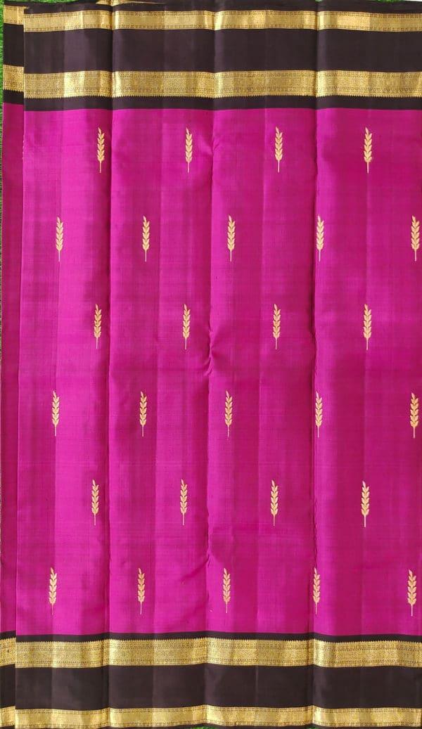 Kanchivaram Color -Purple With Contrast Black Border