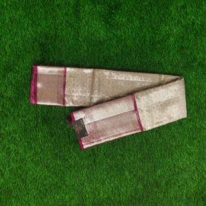 Kanchivaram Tissue Color - Silver With Constrast Pink Border