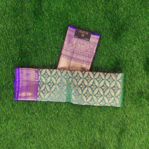 Kanchivaram Color - Bottle-Green With Contarst Purple Border