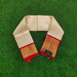Kanchivaram Color - Off White With Contarst Red Border