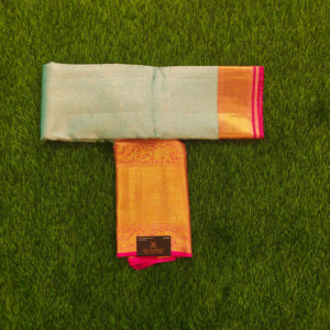 Kanchivaram Color - Ice-Blue With Contrast Hot Pink