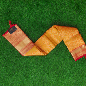 Kanchivaram Color - Mustard Yellow With Contrast Red