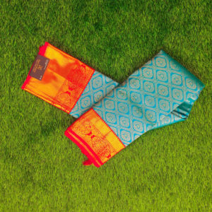 Kanchivaram Color - Sky-Blue With Contrast Red