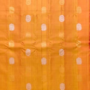 Yellow Gadwal Silk Saree With All Over Alternatively Scattered Gold & Silver Zari Floral & Peacock Buttis Comes Along With Gold silver Zari-Wevae Check Pattern Over Purple Color